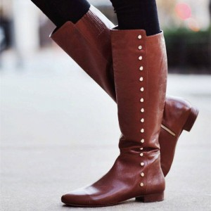 Brown Studs Flat Knee Boots Vintage Shoes US Size 3-15