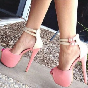 Pink Ankle Strap Sandals Buckle Peep Toe Stiletto Heel Platform Pumps