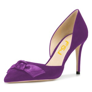 Women's Purple Office Heels Pointy Toe Stiletto Heel Pumps with Bow