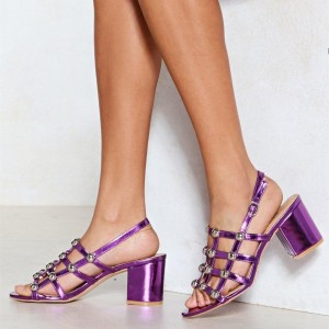 Women's Purple Studs Caged Slingback Block Heel Sandals