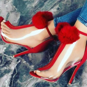 Red and Clear Pom Pom Shoes Stiletto Heel Peep Toe Ankle Booties