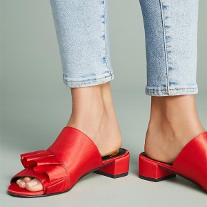 Women's Red Ruffle Mule Peep Toe Chunky Heels Sandals