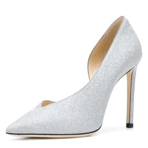 Women's Silver Pointy Toe Stiletto Heels Glitter Shoes