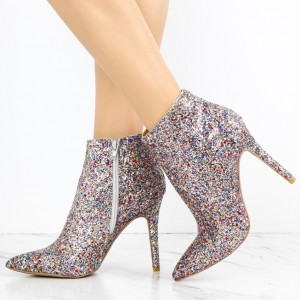 Silver Glitter Boots Pointy Toe Stiletto Heel Fashion Ankle Booties