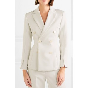 Women's White Double-breasted Satin-crepe Blazer Business Clothes