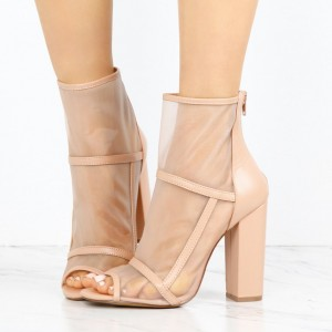 Women's Nude Transparent Chunky Heel Boots Peep Toe Ankle Boots