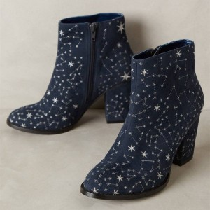 Navy Blue Boots Constellation Style Witch Boots for Halloween