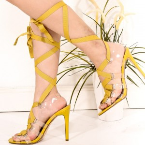 Women's Yellow Clear Stiletto Heels Open Toe Lace Up Strappy Sandals