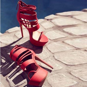Coral Red Stripper Heels Sexy Stiletto Heels Platform Strappy Sandals