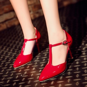 Red Classic Glossy T Strap Heels Pointy Toe 3 inch Heels Vintage Pumps