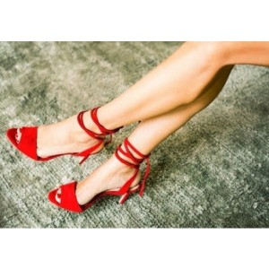 Coral Strappy Sandals Red Stiletto Heel Peep Toe Shoes
