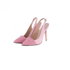 Pink Wedding Heels Slingback Pointy Toe Pumps for Bridesmaid