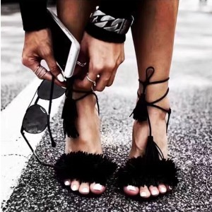 Black Tassel Sandals Open Toe Fringe Stiletto Heels
