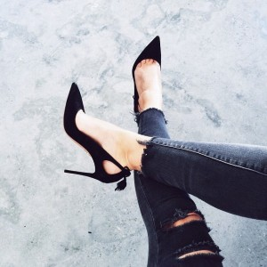 Black Suede Stiletto Heels Pointy Toe Pumps with Tassels