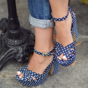 Navy and White Polka Dots Chunky Heels Ankle Strap Slingback Sandals