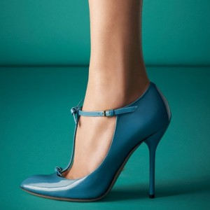 Blue Chic T Strap Stiletto Heels Pointy Toe Patent Leather Pumps