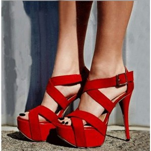 Coral Red Stilettos Platform Heels Crossed-over Strappy Sandals