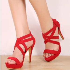 Red Suede Cross over Platforom Heels Stiletto Heels Sandals For Party