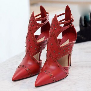 Red Studs Shoes Cut out Pointy Toe Stiletto Heels Summer Ankle Booties