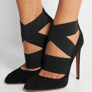 Black Suede Shoes Cross over Strap Stiletto Heel Pumps for Women