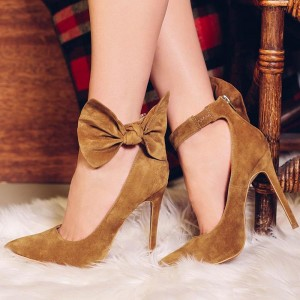 Tan Bow Heels Suede Pointy Toe Ankle Strap Stiletto Heel Pumps