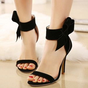 Black Side Bow Heels Open Toe Ankle Strap Stiletto Heel Sandals