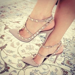 Nude Studs Shoes Slingback T Strap Stiletto Heel Pumps