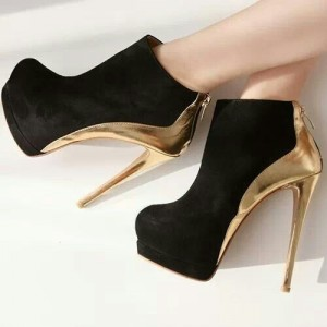 Black and Gold Platform Boots Stiletto Heel Fashion Ankle Boots