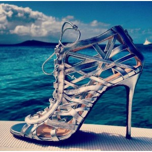 Phoebe Silver Wrapping Caged Peep Toe Lace-up Heels Stilettos Sandals