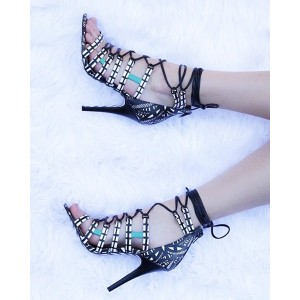 Black and White Lace up heels Strappy Sandals Stiletto Heel Sandals