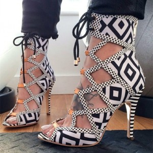 Black and White Heels Lace Up Peep Toe Strappy Sandals