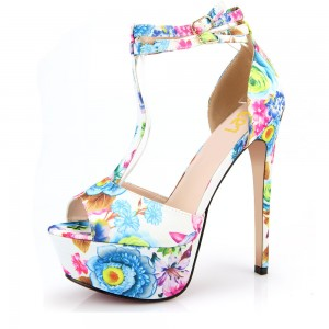 Floral Heels T Strap Peep Toe Ankle Strap Platform Sandals High Heels Shoes