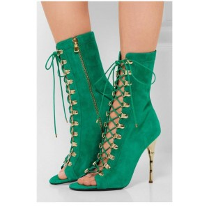 Green Lace Up  Boots Stiletto Heels Mid-calf Booties