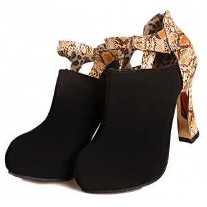 Black Suede and Snakeskin Booties Fashion Short Ankle Boots