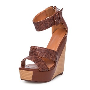 Tan Straw Tri Strap Wedge Sandals Platform Ankle Strap Sandals