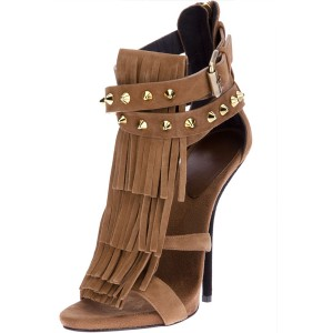 Brown Stiletto Heels Fringe Sandals Rivets Gladiator Heel Sandals