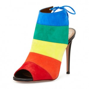 Rainbow Slingback Peep Toe Summer Boots Suede Stilettos Ankle Booties