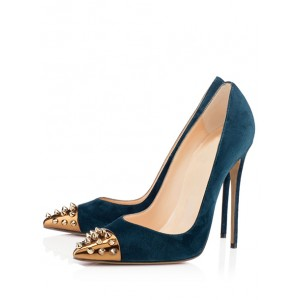 Peacock Blue Office Heels Pointed Toe Rivets Stiletto Heels Pumps