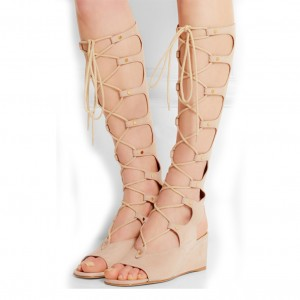 Nude Gladiator Heels Lace up Strappy Suede Wedge Heels Sandals
