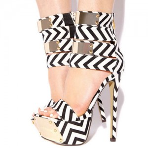 Black and White Heels Platform Sandals Stiletto Heels Stripper Shoes