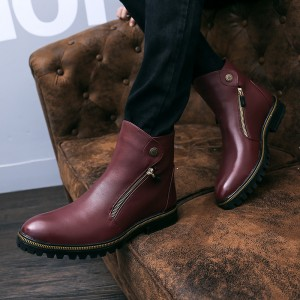 Burgundy Zipper Details Motorcycle Boots Round Toe Flat Ankle Boots