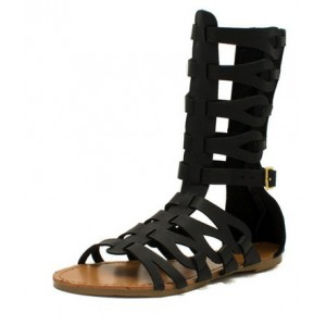 Black Gladiator Sandals Open Toe Comfortable Flats for Women