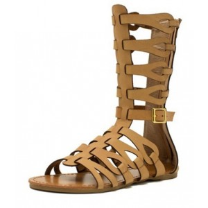 Khaki Gladiator Sandals Comfortable Mid-calf Flats