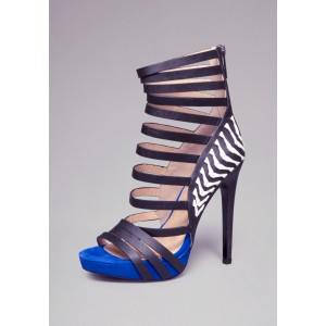 Royal Blue and Black Vegan Shoes Open Toe Platform Stiletto Heels