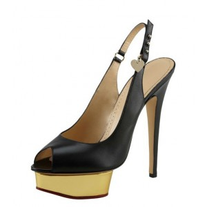 Black Satin Platform Heels Peep Toe Stiletto Heels Slingback Pumps