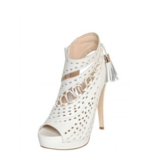 White Tassel Stilettos Platform Heels Peep Toe Hollow-out Summer Boots