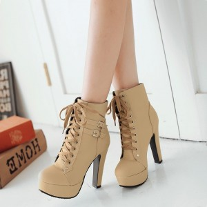 Khaki Lace up Platform Chunky Heel Boots Rock Motorcycle Boots