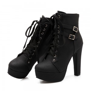 Women's Black Lace Up Boots Platform Chunky Heels Ankle Booties