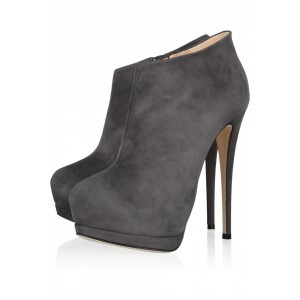 Dark Grey Suede Ankle Booties Stiletto Heel Fashion Platform Boots