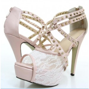Pink Lace Heels Studded Peep Toe Platform Sandals for Wedding